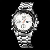 Férfi Ruha óra Kvarc Japán kvarc LCD Compass Naptár Kronográf Vízálló Két időzóna riasztás Rozsdamentes acél Zenekar Ezüst