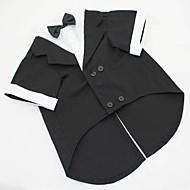 billiga -Hund Dräkter/Kostymer Smoking Hundkläder Cosplay Bröllop Solid Svart Grå Kostym För husdjur