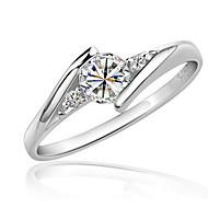 baratos Anéis-Mulheres Diamante sintético Anel - Zircão, Zircônia Cubica, Pedaço de Platina Amor Elegante 6 / 7 / 8 Prata Para Casamento / Festa / Aniversário