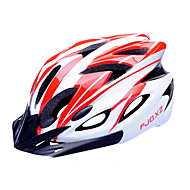 저렴한 -FJQXZ EPS + PC 빨간색과 흰색 일체형으로 성형 순환 헬멧 (18 통풍구)