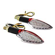 DIY Waterproof 15 LED sinais de volta luz amarela para motocicletas Red (DC12-16V 2W de 2 peças)