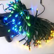 preiswerte LED Solarleuchten-17m 100 leds wiederaufladbar / dekorativ für outdoor / garten-pvc-weihnachtsdekoration schnur leuchtet weiß / regenbogen