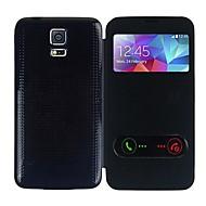 Недорогие Чехлы и кейсы для Galaxy S-Кейс для Назначение SSamsung Galaxy Кейс для  Samsung Galaxy с окошком Флип Ультратонкий Чехол Сплошной цвет Кожа PU для S5