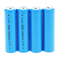 cheap Flashlights, Lanterns & Lights-18650 Battery Rechargeable Lithium-ion Battery 5000.0 mAh 4pcs Rechargeable for Camping/Hiking/Caving