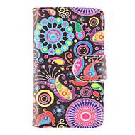 Для Кейс для  Samsung Galaxy Кошелек / Бумажник для карт / со стендом / Флип / С узором Кейс для Чехол Кейс для Цветы Искусственная кожа