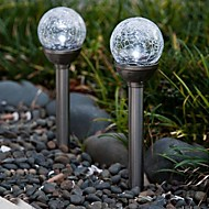 Set of 2 Color Changing Solar Crackle Glass Ball Stake Light Garden lamp