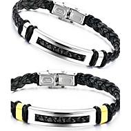 levne Šperky&Hodinky-Pánské Kožené náramky - Kožené, Titanová ocel Jedinečný design, Módní Náramky Stříbrná / Zlatá Pro Vánoční dárky Svatební Párty