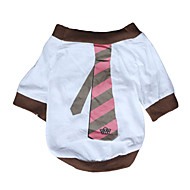 お買い得  -犬 Tシャツ 犬用ウェア 縞柄 ホワイト コットン コスチューム ペット用 男性用 女性用 カジュアル/普段着