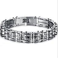 ieftine -Bărbați femei Personalizat Modă Bijuterii inițială Teak Bijuterii brățară Argintiu Pentru Cadouri de Crăciun Zilnic / Oțel titan
