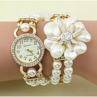 Dame Modeur Armbåndsur Quartz Imiteret Diamant Legering Bånd Blomst Perler Elegant Hvid Gråt Guld