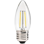 abordables ONDENN-1pc 400 lm E26/E27 Bombillas de Filamento LED C35 leds COB Regulable Decorativa Blanco Cálido AC 220-240V