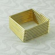 τετράγωνο χρυσό δαχτυλίδι ασημένιο πετσέτα, μέταλλο, 4,5 εκατοστά, σετ των 12