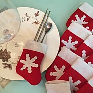 6PCS /セットクリスマス雪ストッキングカトラリー食器ホルダーの装飾