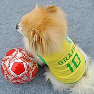 billiga Husdjursartiklar-Katt Hund T-shirt Tröja Hundkläder Bokstav & Nummer Gul Terylen Kostym För husdjur Herr Dam Semester Sport