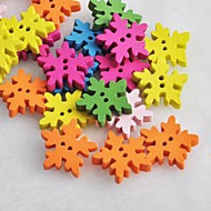 Colorful Snowflake Shaped Scrapbook Scraft Sewing DIY Wooden Buttons(10 PCS Random Color)