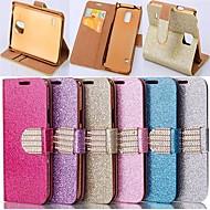 Недорогие Чехлы и кейсы для Galaxy Note-Кейс для Назначение SSamsung Galaxy Samsung Galaxy Note Бумажник для карт Стразы со стендом Флип Чехол Сияние и блеск Кожа PU для Note 4