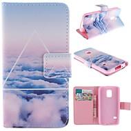 Для Кейс для  Samsung Galaxy Бумажник для карт / со стендом / Флип / С узором Кейс для Чехол Кейс для Пейзаж Искусственная кожа SamsungS5
