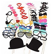 51 PCS Card Paper Photo Booth Props Party Fun Favor(Glasses & Hat & Mustache & Hat)