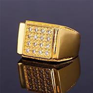 halpa -Miesten Band Ring Cubic Zirkonia Yksilöllinen Ylellisyys Statement-korut Birthstones Zirkoni Cubic Zirkonia Gold Plated Geometric Shape