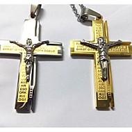 Χαμηλού Κόστους -Ανδρικά Κρεμαστά Κολιέ Τιτάνιο Ατσάλι Επιχρυσωμένο Cruce Ασημί Χρυσαφί Κολιέ Κοσμήματα Για Γάμου Πάρτι Καθημερινά Causal