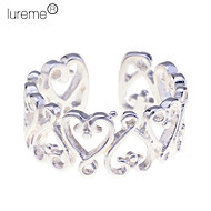 Lureme®925 Sterling Silver Plated Hollow Little Heart Open Ring