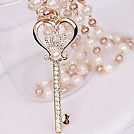 небольшой алмаз короны ключ жемчужина любовь ожерелье женщин