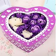 regalo del día de 20pcs románticas de amor flores rosas de jabón de San Valentín con un oso