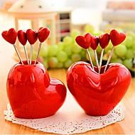 la forma del corazón de la fruta horquillas de acero inoxidable, acero inoxidable de 7,5 × 7,5 × 6,5 cm (3,0 x 3,0 x 2,6 pulgadas) Tipo de azar