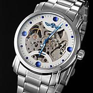 お買い得  -WINNER 男性用 機械式時計 自動巻き 透かし加工 ステンレス バンド ハンズ チャーム シルバー - ホワイト ブラック