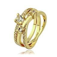 Кольца для пар Камни по месяцу рождения Хрусталь Стразы Платиновое покрытие Позолота 18K золото Искусственный бриллиант СплавКруглый