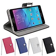 お買い得  携帯電話ケース-ケース 用途 Samsung Galaxy Samsung Galaxy Note カードホルダー スタンド付き フリップ フルボディーケース 純色 PUレザー のために Note 4