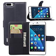 お買い得  携帯電話ケース-ケース 用途 Huawei / Huawei社の名誉6プラス Huaweiケース カードホルダー / ウォレット / スタンド付き フルボディーケース ソリッド ハード PUレザー のために Huawei Honor 6 Plus / Huawei