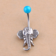 Crystal Navel Ring / Belly Piercing - Crystal Elephant, Animal Ladies, Unique Design, Fashion Women's Silver Body Jewelry For Daily / Casual