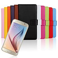 お買い得  携帯電話ケース-ケース 用途 Samsung Galaxy Samsung Galaxy ケース ウォレット / カードホルダー / スタンド付き フルボディーケース ソリッド 本革 のために S6