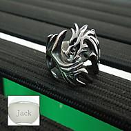 tanie Personalizowane dodatki do odzieży-Spersonalizowane ojca prezent dzień biżuteria ze stali nierdzewnej Pierścień kształcie smoka srebrnych mężczyzn