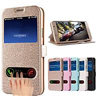 Недорогие Чехлы и кейсы для Galaxy S-Кейс для Назначение SSamsung Galaxy Кейс для  Samsung Galaxy со стендом с окошком Флип Чехол Сплошной цвет Кожа PU для S5