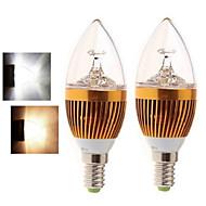 cheap LED Candle Lights-2PCS 4W 400-450 lm E14 LED Candle Lights 5LED leds COB Warm White Cold White 2800-3500/6000-6500K AC 85-265V