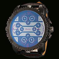 Недорогие Фирменные часы-Oulm Муж. Армейские часы Кварцевый Японский кварц С двумя часовыми поясами С тремя часовыми поясами Горячая распродажа Кожа Группа Аналоговый Роскошь Мода Красный Синий Розовый