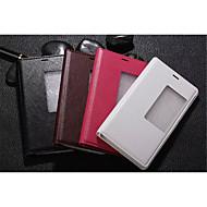 Для Кейс для Huawei P8 Чехлы панели со стендом с окошком С функцией автовывода из режима сна Флип Чехол Кейс для Один цвет Твердый