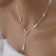 Mujer Collares con colgantes Collar con perlas Gota Perla Perla Artificial Legierung Diseño Básico Elegant Nupcial joyería de disfraz