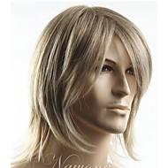 Miesten Synteettiset peruukit Koneella valmistettu Suojuksettomat Lyhyt Suora Vaaleahiuksisuus Sivuosa Otsatukalla Luonnollinen peruukki