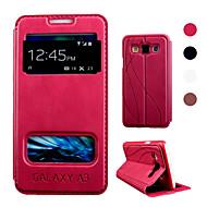 Недорогие Чехлы и кейсы для Galaxy А-Для Кейс для  Samsung Galaxy со стендом / с окошком / Флип Кейс для Чехол Кейс для Один цвет Искусственная кожа Samsung A3