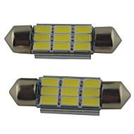 2adet carking ™ fisto 36mm 215ml 6000k beyaz ışık led * 5630smd / 39mm / 41mm 2w 9 rome lambası (DC 12V)