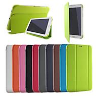 Недорогие Чехлы и кейсы для Galaxy Tab 4 7.0-Кейс для Назначение SSamsung Galaxy Кейс для  Samsung Galaxy со стендом Флип Оригами Сплошной цвет для