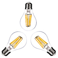 E26/E27 LED Filament Bulbs G60 6 COB 600lm Warm White 2800-3200K Dimmable AC 220-240 AC 110-130V