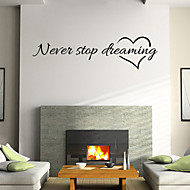 Wall Stickers Wall Decals Style Nerer Stop Dreaming English Words & Quotes PVC Wall Stickers