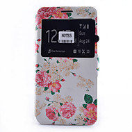 Flower Pattern Pattern Window Clamshell PU Leather Case with Stand and Card Slot for Samsung Galaxy Note Series