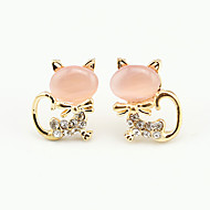 Women's Cubic Zirconia Stud Earrings - Cubic Zirconia, Platinum Plated Animal Ladies, European, Cute Jewelry White / Green / Pink For Party Daily