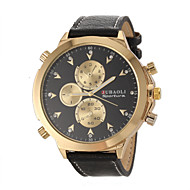 Недорогие Фирменные часы-JUBAOLI Муж. Кварцевый Наручные часы Армейские часы Повседневные часы Кожа Группа Кулоны Черный