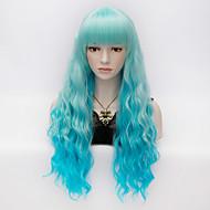 Недорогие Парики-Искусственные волосы парики Кудрявый вьющиеся С чёлкой Карнавальный парик Парик для Хэллоуина Очень длинный Синий